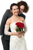Attractive young newly married couple — Stock Photo