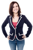 Cheerful young woman posing confidently — Stock Photo