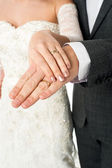 Couple showing their wedding bands — Stock Photo