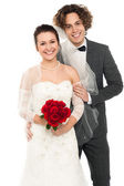 Fashion shot a handsome groom and lovely wife — Stock Photo