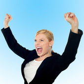 Corporate lady expressing success loudly — Stock Photo