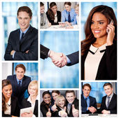 Group of business people, collage. — Stock Photo