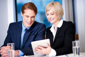 Business executives discussing at office — Stock Photo