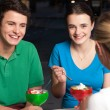 Friends enjoying meal outdoors — Stock Photo