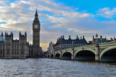 The Big Ben and Westminster Bridge in London — Stock Photo