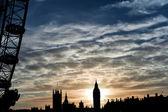 London Eye and Big Ben during sunset — Stock Photo