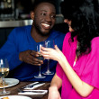 Affectionate romantic couple in a bar — Stock Photo
