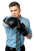 Businessman ready to punch — Stock Photo