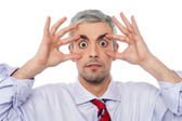 Businessman with eyes wide open — Stock Photo