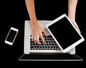 Brand new laptop, tablet and smartphone — Stock Photo