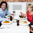 Happy family together in a restaurant — Stock Photo #46190533
