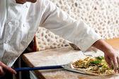 Chef process of preparing pizza — Foto Stock