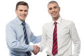Handsome young executives shaking hands — Stock Photo