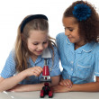 School girls with microscope — Stock Photo