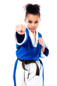Little girl practice karate — Stock Photo