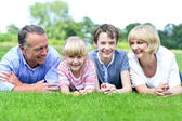 Family of four relaxing in park — Photo