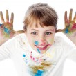 Little girl with messy hands of paint — Stock Photo #51150559