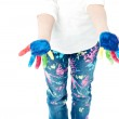 Girl showing hands painted — Stock Photo #51150739