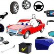Stock Photo: Car and lot of necessary details on white background