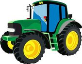 Green agricultural tractor — Stock Vector