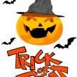 Vector de stock : Halloween pumpkin and trick or treat