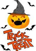 Calabaza de halloween y truco o trato — Vector de stock