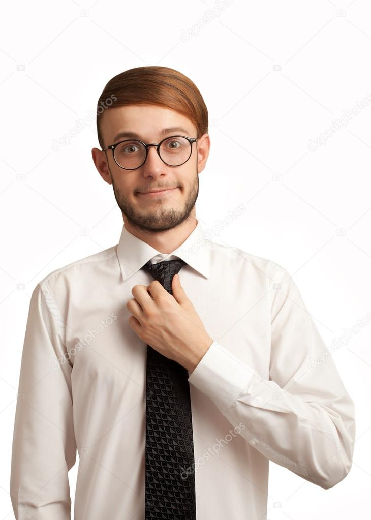 Shy nerd employee trying to smile isolated on white — Stock Photo #13987767