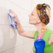 Cleaning tiles — Stock Photo