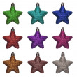 Colorful new xmas stars — Stockfoto