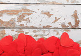 Red shaped fabric hearts  — Stock Photo
