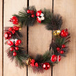 Evergreen christmas wreath — Stock Photo #34151473