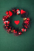 Beautiful evergreen christmas wreath — Stock Photo