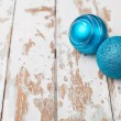 Two blue christmas balls — Stock Photo #34162025
