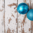 Two blue christmas balls — Stock Photo