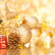 Christmas background with various ornaments — Stock Photo