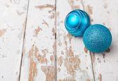 Two blue christmas balls  — Stock Photo