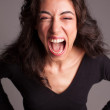 Portrait of a beautiful young lady screaming — Stock Photo