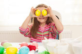 Girl with easter eggs — Stock Photo