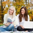 Girls study in autumn park — Stock Photo #13608285