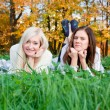 Beautiful girls in the Autumn fall — Stock Photo