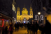 Christmas fair before the Basilica Square at christmastime — Stock Photo