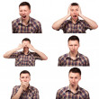 Collage of face expressions — Stockfoto