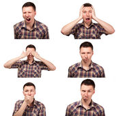 Collage of face expressions — Stock Photo