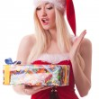 Portrait of a young attractive sexy Santa girl — Stock Photo