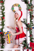 Portrait of a young attractive sexy Santa girl — Foto Stock