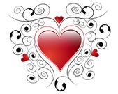 Coeur avec éléments floraux — Vecteur