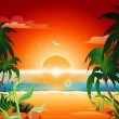 Beautiful sunset on the beach — Stock Vector