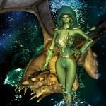 Amazing dragon and elf — Stock Photo #39461879