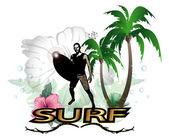 Surfing — Stockvektor