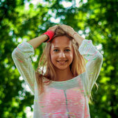 Happy young woman smiling — Stock Photo